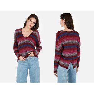 Express Striped Split Back V-Neck Sweater XS